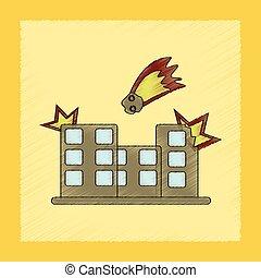 flat shading style icon meteorite falling on house - flat...
