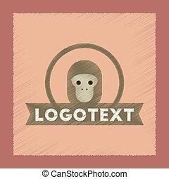 flat shading style icon monkey logo