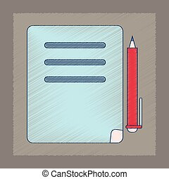 flat shading style icon notebook and pen