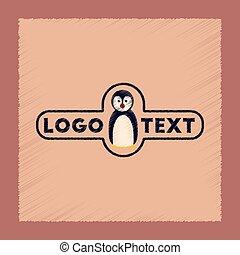 flat shading style icon penguin logo