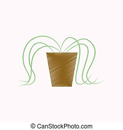flat shading style icon plant in a pot