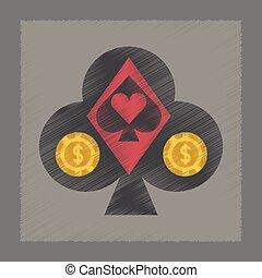 flat shading style icon poker logo