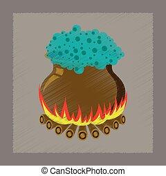flat shading style icon potion cauldron