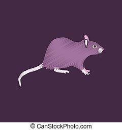 flat shading style icon rat