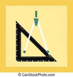 flat shading style icon ruler compass
