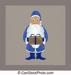 flat shading style icon Santa Claus gifts