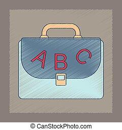 flat shading style icon school bag backpack
