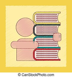flat shading style icon schoolboy books