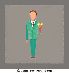 flat shading style icon schoolboy flowers
