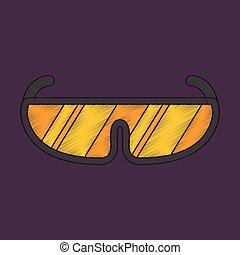 flat shading style icon Ski goggles