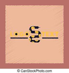 flat shading style icon snake logo