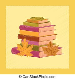 flat shading style icon stack of books
