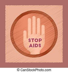flat shading style icon Stop AIDS symbol