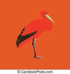 flat shading style icon stork