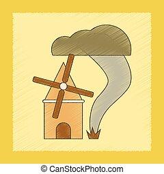 flat shading style icon tornado mill