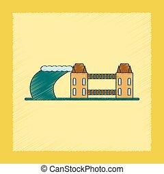 flat shading style icon tsunami city