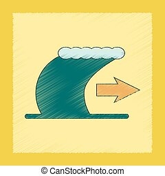 flat shading style icon tsunami movement - flat shading...