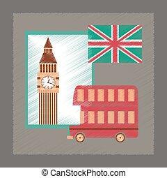 flat shading style icon United Kingdom set