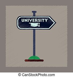 flat shading style icon University sign