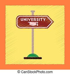 flat shading style icon University sign