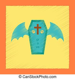 flat shading style icon wings coffin