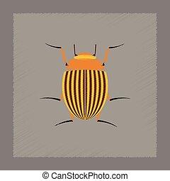 flat shading style illustration Colorado beetle