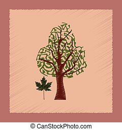 flat shading style Illustrations plant Acer - flat shading...