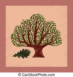 flat shading style Illustrations plant Quercus - flat...