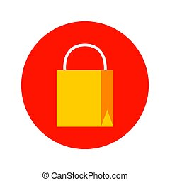 Flat Shopping Bag Circle Icon. Vector Illustration of Shop Object