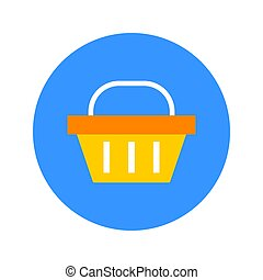 Flat Shopping Basket Circle Icon. Vector Illustration of Shop Object
