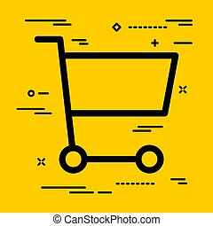 Flat shopping cart icon on yellow background with lines