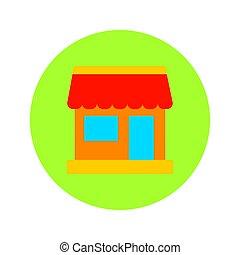 Flat Shopping Market Circle Icon. Vector Illustration of Shop Object