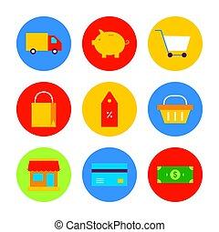 Flat Shopping Sale Icon Set. Vector Illustration of Shop Promotion