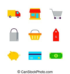 Flat Shopping Sale Set. Vector Illustration of Shop Objects