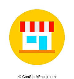 Flat Shopping Store Circle Icon. Vector Illustration of Shop Object