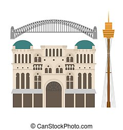 Flat Sightseeing and landmark. Architecture of Australia. Queen Victoria Building, Harbour bridge, Sydney tower
