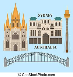 Flat Sightseeing and landmark. Architecture of Australia. St paul's cathedral melbourne, Queen Victoria Building, Harbour bridge, Sydney tower