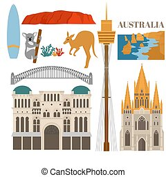 Flat Sightseeing and landmark. Architecture of Australia. St paul's cathedral melbourne, Queen Victoria Building, Harbour bridge, Sydney tower, Uluru and The Twelve Apostles