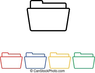 Flat simple folder icon four colors design