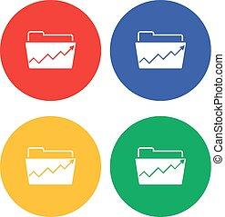 Flat simple folder icon with raising graph