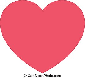 Flat Simple Pink Heart iCon on iSolated White Background. Love and Valentine?s Day Simple Design