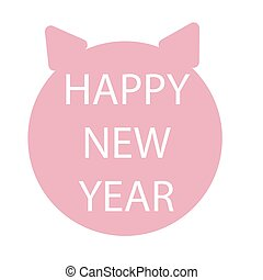 Flat simple style piglet Chinese zodiac symbol of the year....