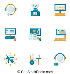 Flat simple vector icons for education online