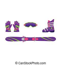 Flat skiing equipment - ski, boot, goggles, gloves