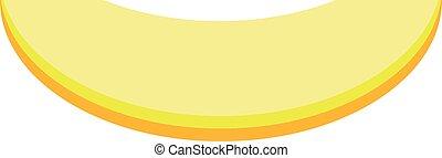 Flat slice of sweet melon icon isolated on white background