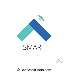 Flat smart home control vector logo, house technology emblem, internet