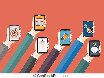 Flat Smartphone Mobile Marketing