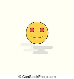 Flat Smiley emoji Icon. Vector