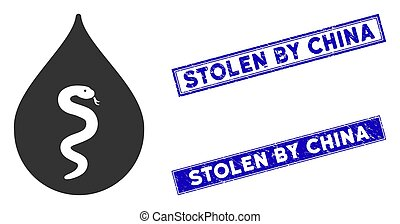 Flat Snake Oil Icon and Distress Rectangle Stolen by China Stamps