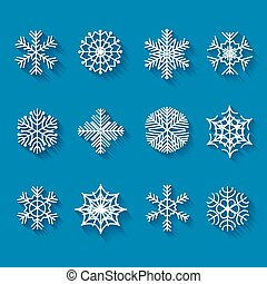 Flat snowflakes. Icons isolated on a blue background with long shadows.